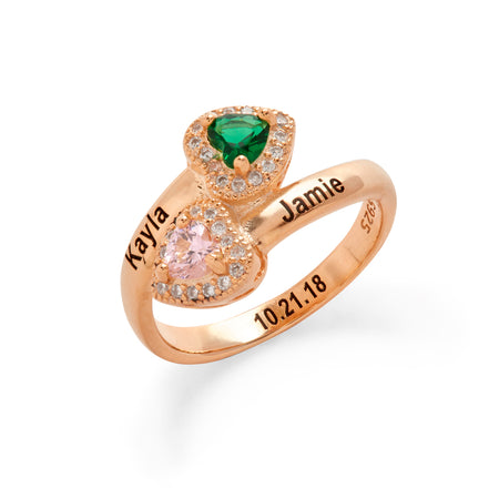 2 Stone Engravable Rose Gold CZ Heart Birthstone Wrap Ring