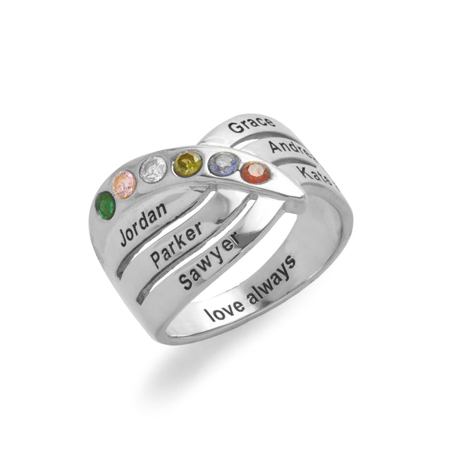6 Stone Engravable Sterling Silver Family Birthstone Ring