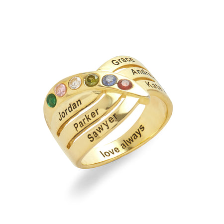 6 Stone Engravable Gold Family Birthstone Ring