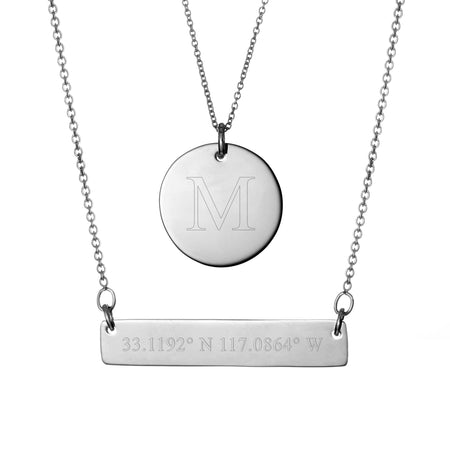 Coordinate Silver Bar and Round Tag Layered Necklace Set