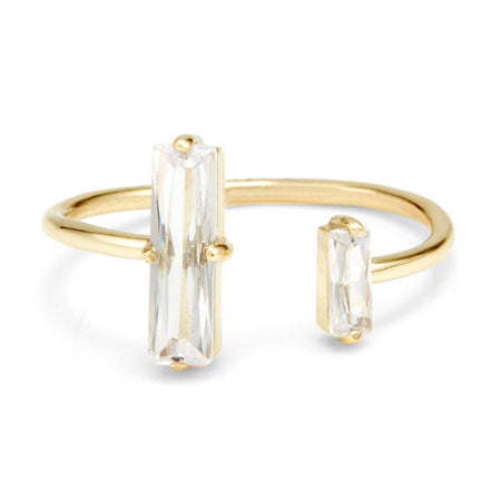 Double Baguette Open Center Gold Plated Cuff Ring Band