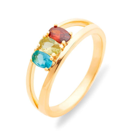display slide 1 of 4 - Split 3 Stone Gold Birthstone Ring with Dual Ring Setting - selected slide
