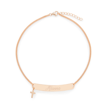 Engravable Rose Gold Name Bar Anklet with Cross Charm