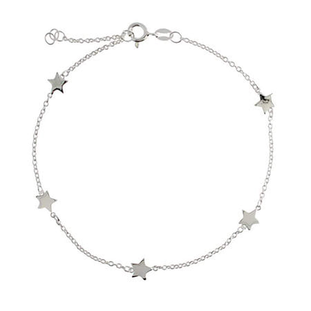 Chain of Stars Sterling Silver Anklet