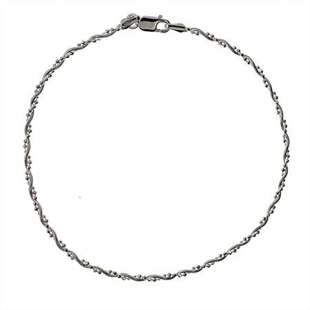 Thin Beaded Snake Chain Sterling Silver Anklet