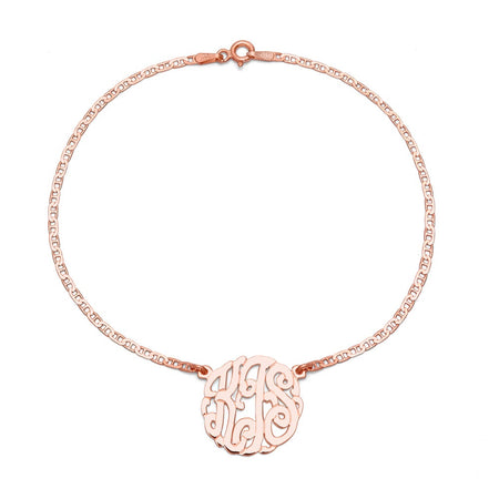 display slide 1 of 4 - Rose Gold Vermeil Custom Monogram Anklet | Eve's Addiction® - selected slide