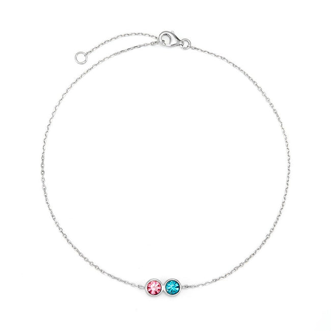 2-stone Personalized Cubic Zirconia Birthstone Silver Anklet