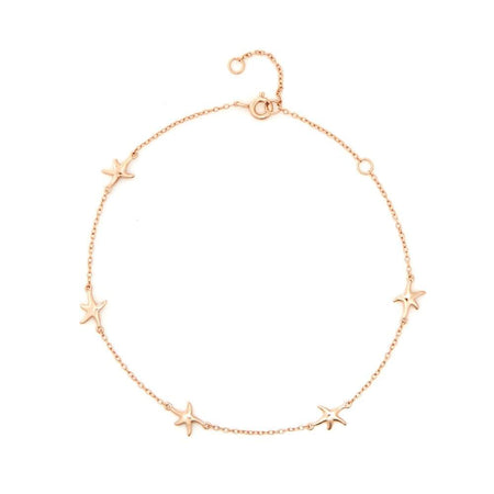 Starfish Anklet In Rose Gold Vermeil