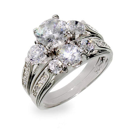 Past Present and Future Wedding CZ Ring Set
