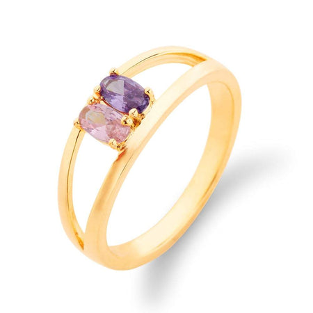 Split 2 Stone Gold Birthstone Ring with Dual Ring Setting