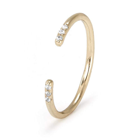 Dainty Gold Plated Open Cuff Ring with CZs