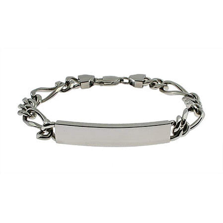 Engravable Stainless Steel Figaro Link ID Bracelet - Clearance Final Sale