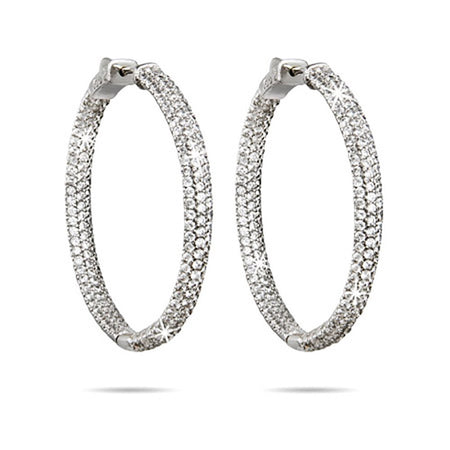 "display slide 1 of 1 - 1.75"" Inside Outside Pave CZ Hoop Earrings 