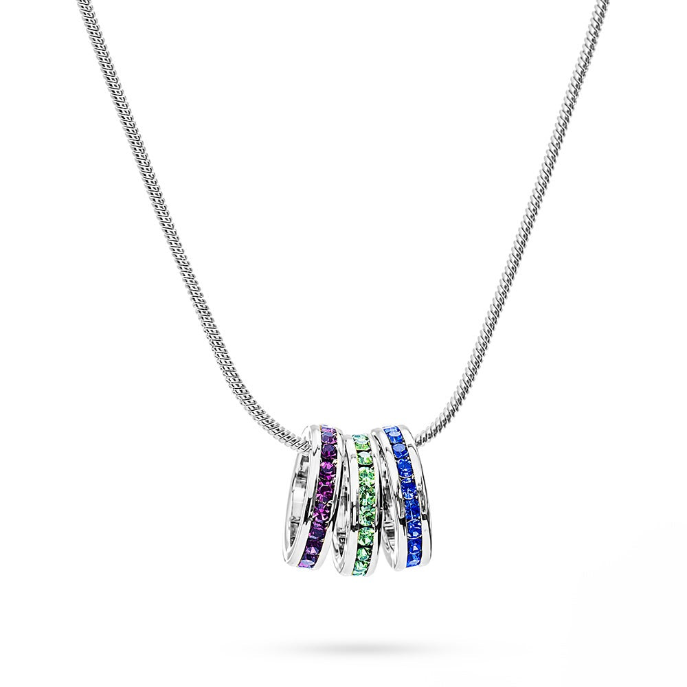 18-Inch Rhodium Plated Necklace with 4mm Topaz Birthstone Beads and Sterling Silver 5-Way Charm.