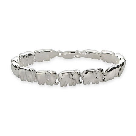 display slide 1 of 1 - Sterling Silver African Elephant Parade Bracelet - selected slide