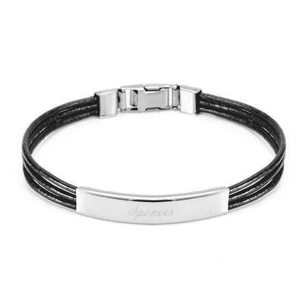 Ladies Black Leather Band ID Bracelet