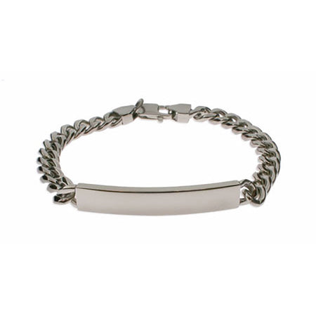 Mens Curb Link Stainless Steel ID Bracelet