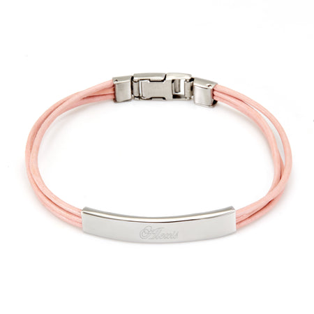 display slide 1 of 1 - Ladies Pink Leather Band Stainless Steel ID Bracelet - selected slide