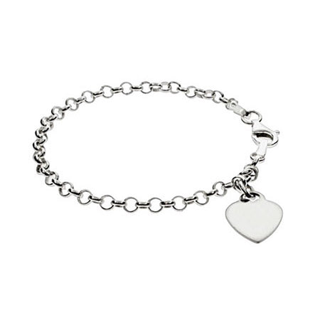 display slide 1 of 1 - Kids Engravable Heart Tag Bracelet - selected slide