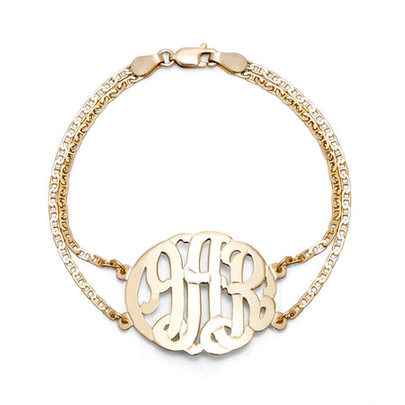 display slide 1 of 5 - Gold Vermeil Custom Monogram Bracelet - selected slide
