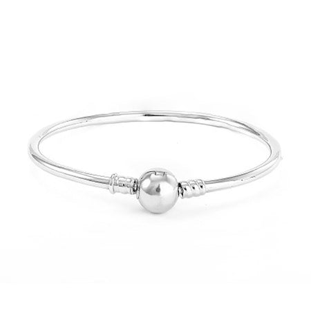 Pandora Charm Compatible Bangle Bracelet with Barrel Clasp