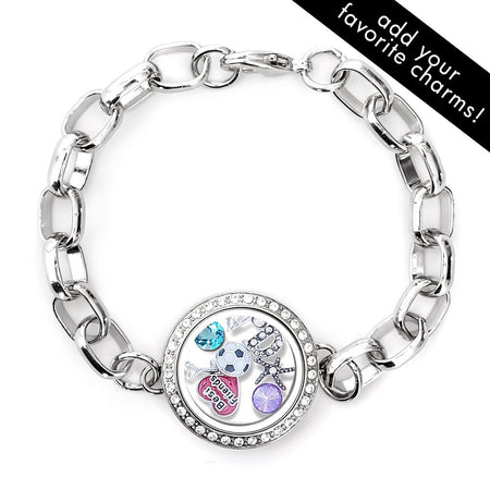 Diamond CZ Round Floating Charm Locket Bracelet
