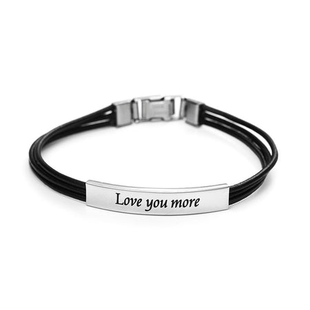 Engravable Love You More Black Leather Bracelet