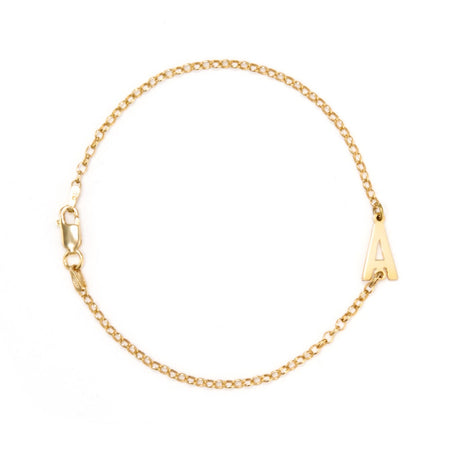 Gold Plated Sideways Initial Bracelet with Rolo Chain