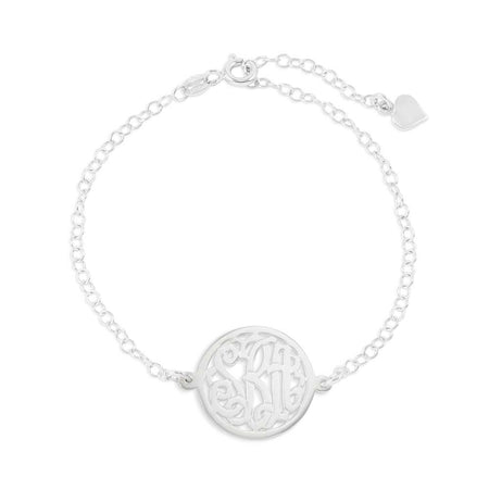 display slide 1 of 4 - Custom Circle Monogram Sterling Silver Bracelet - selected slide