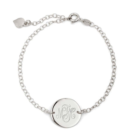 display slide 1 of 1 - Engravable Monogram Silver Disc Bracelet - selected slide