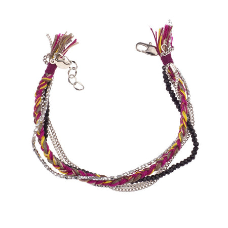 display slide 1 of 1 - Boho Chic Braid, Bead, & Chain Bracelet by Shashi - selected slide