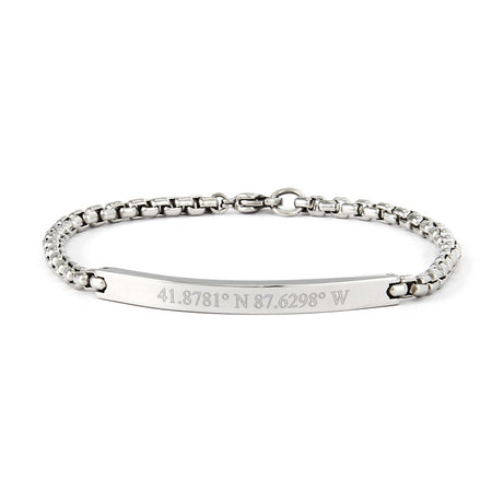 display slide 1 of 1 - Box Link Engraved Coordinates Bracelet | Eves Addiciton - selected slide