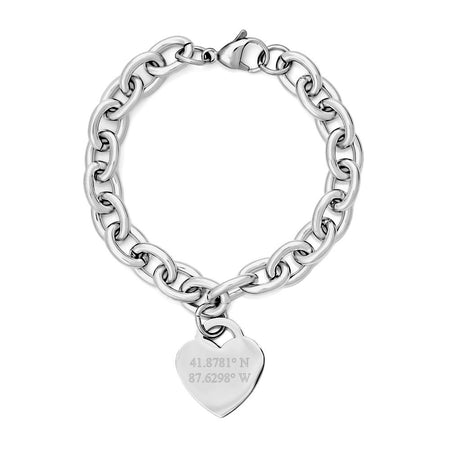 Custom Coordinate Steel Heart Tag Bracelet
