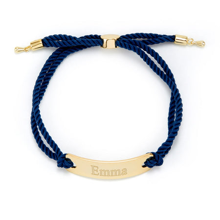 Blue and Gold Engravable Bar Rope Bolo Bracelet