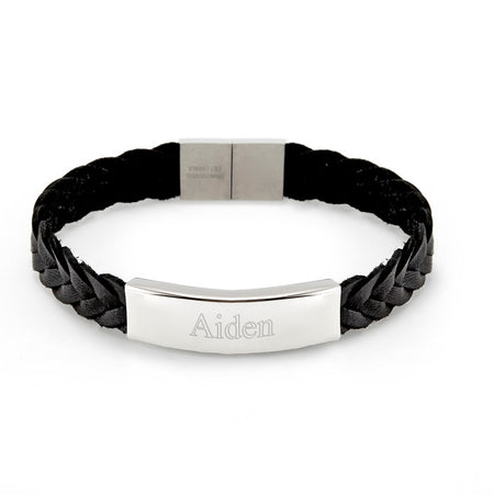 Men's Leather Engraved Name Bracelet