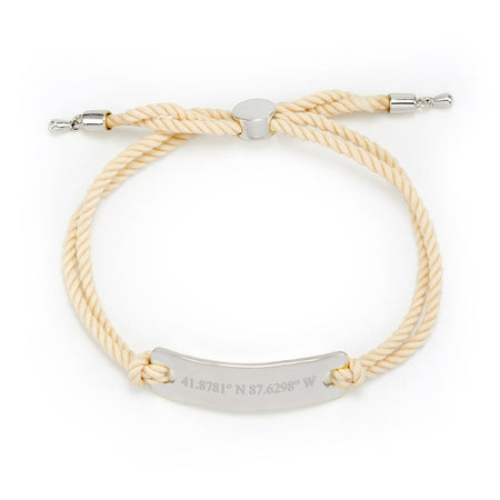 display slide 1 of 2 - Nude Rope Custom Coordinates Bracelet - selected slide