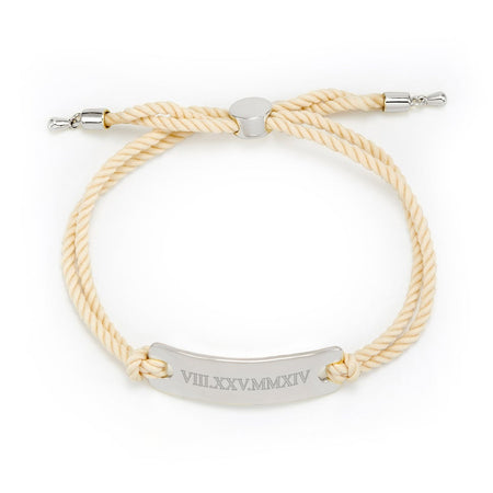 display slide 1 of 2 - White Silver Roman Numeral Bracelet - selected slide