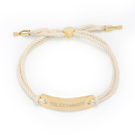 display slide 1 of 2 - White Bolo Roman Numeral Bracelet | Eves' Addiction - selected slide