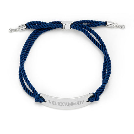 display slide 1 of 2 - Navy Custom Roman Numeral Bolo Bracelet | Eves Addiction - selected slide