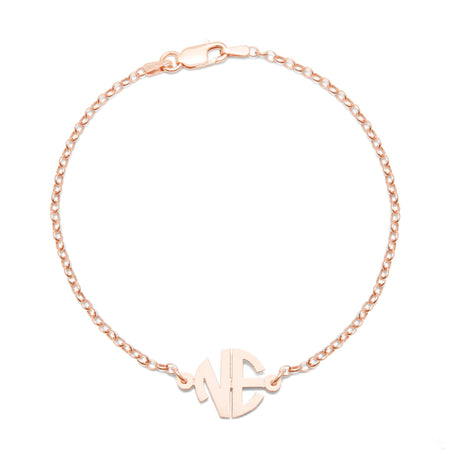 2 Initial Custom Round Block Rose Gold Monogram Bracelet