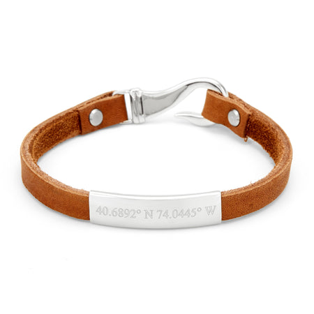 Coordinate Men's ID Brown Leather Fish Hook Steel Bracelet