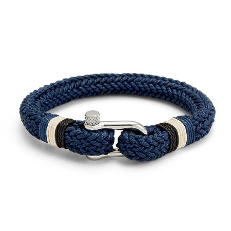 Mens Navy Cotton Fabric And Stainless steel Shackle Bracelet