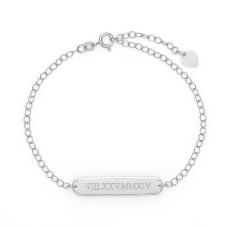 Custom Engraved Roman Numeral Oval Name Bar Silver Bracelet
