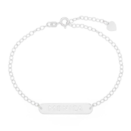 Personalized Oval Name Bar Cutout Silver Nameplate Bracelet