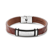 Engravable Men's Brown Woven Leather ID Bracelet