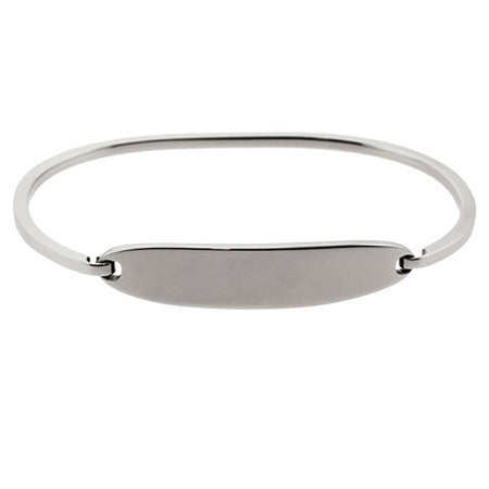 display slide 1 of 2 - Ladies Thin Oval ID Engravable Bangle Bracelet - selected slide