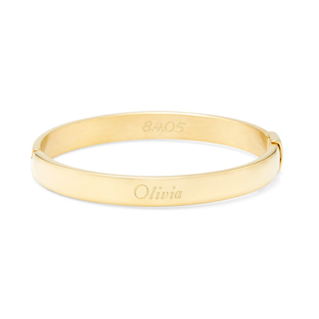 Engravable Gold Plated Stainless Steel Oval Bangle