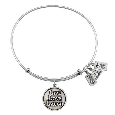 Wind & Fire Live, Love, Laugh Charm Bangle Bracelet with Silver Finish