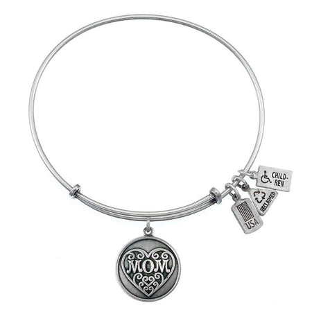 Wind & Fire Mom Charm Bracelet with Silver Finish
