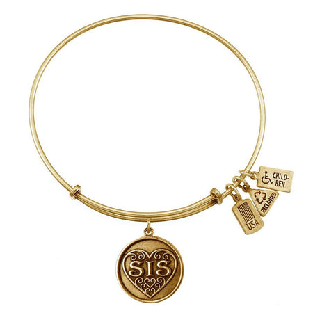 "Sis Filigree Heart Charm 7.5"" Gold Bangle Bracelet"